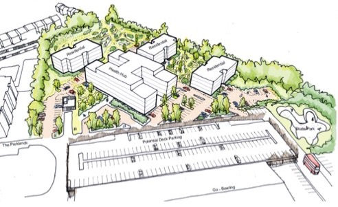 Artist's impression of Dunstable health hub and housing