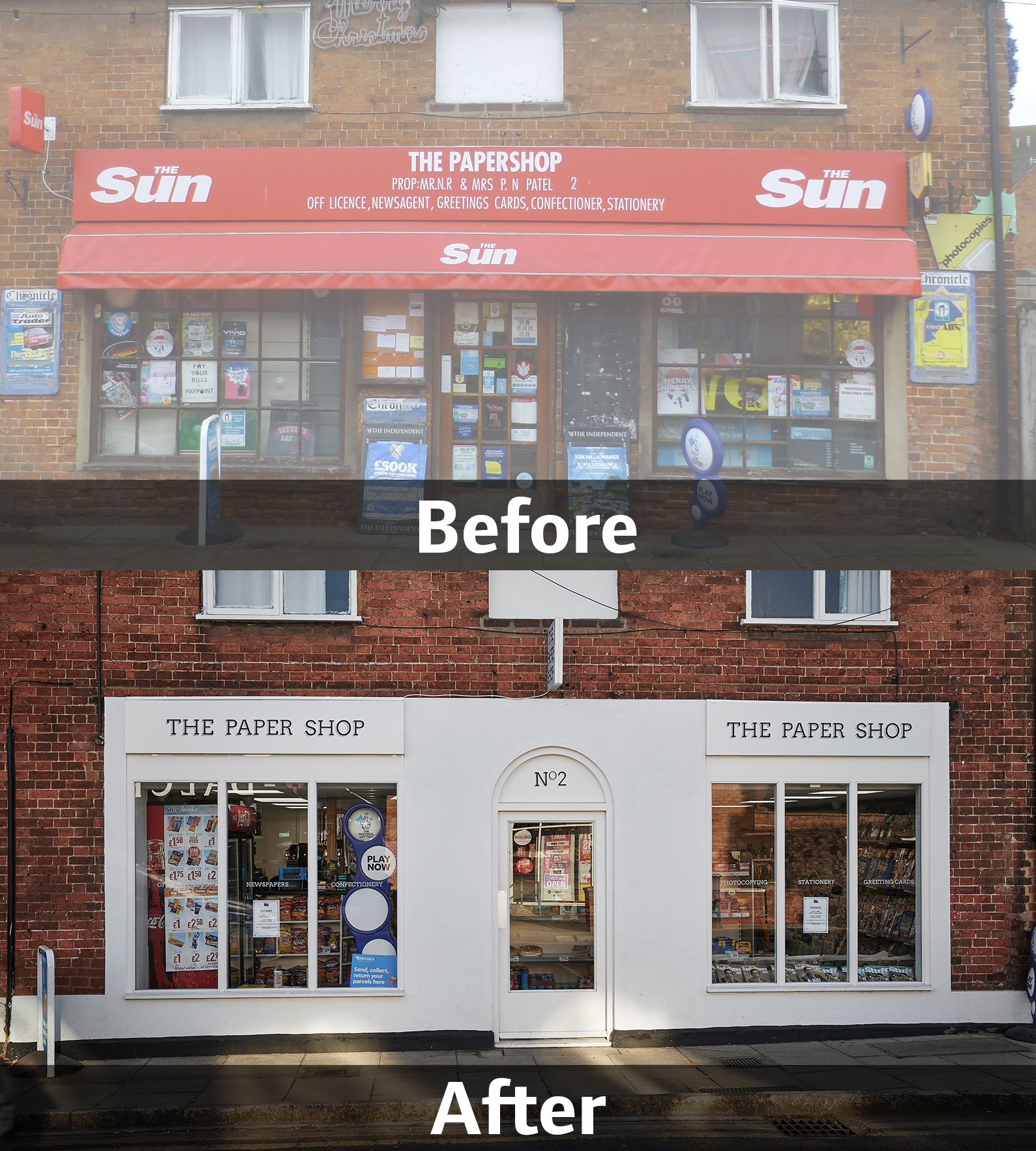 Shefford Paper Shop, before and after