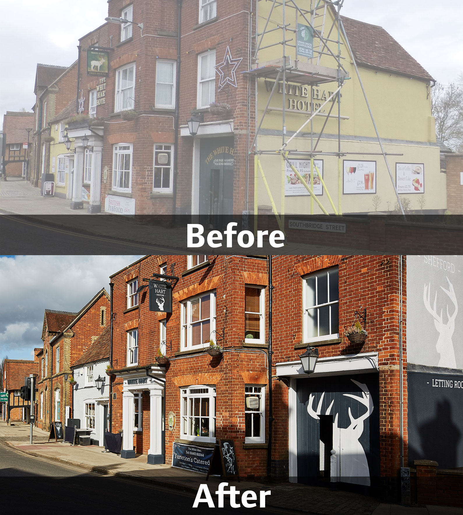 White Hart, Shefford, before and after